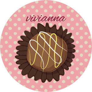 Chocolate Polka Dot Pink Label