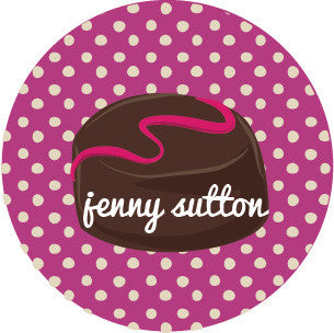 Chocolate Polka Dot Violet Label