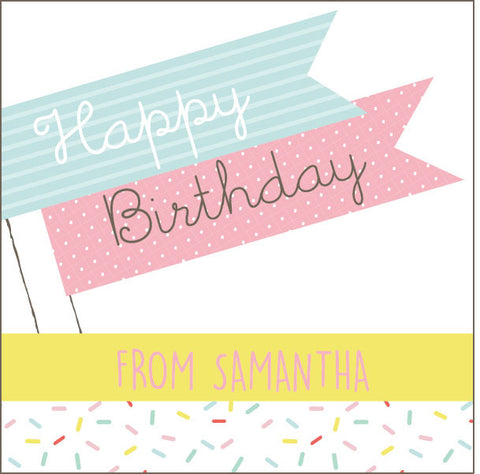 Happy Birthday Cake Topper Gift Label