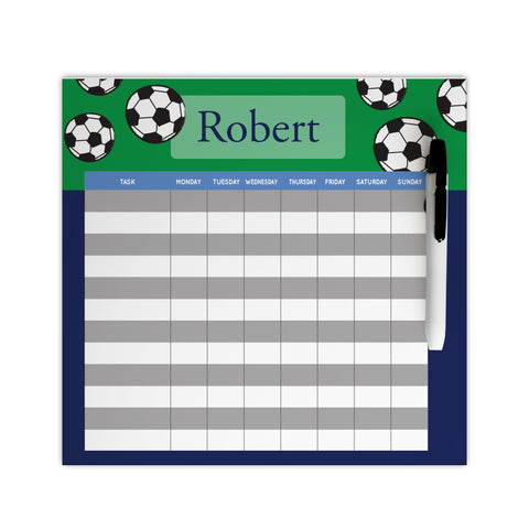 Personalized soccer chore chart for boys