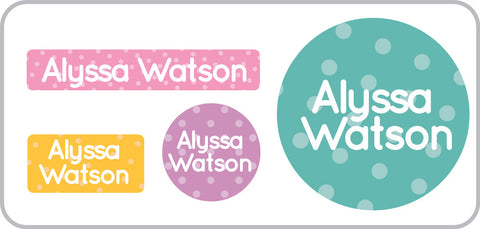 Personalized Polka dots everyday labels for lunch containers, school supplies, shoes insoles and much more