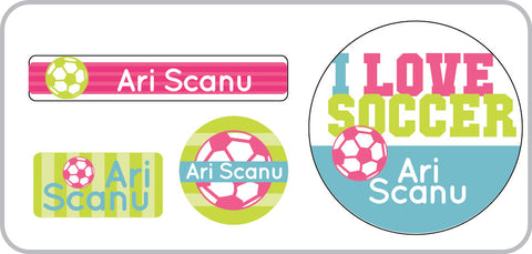 soccer water proof labels for girls