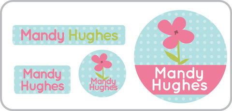 Pink Flower Everyday Labels