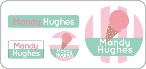 icecream personalized labels for girls, icecream waterproof labels ,