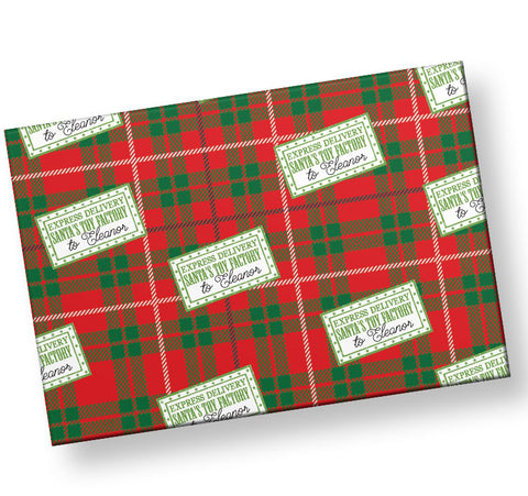 From the North Pole Toy factory Personalized Gift Wrap form Santa