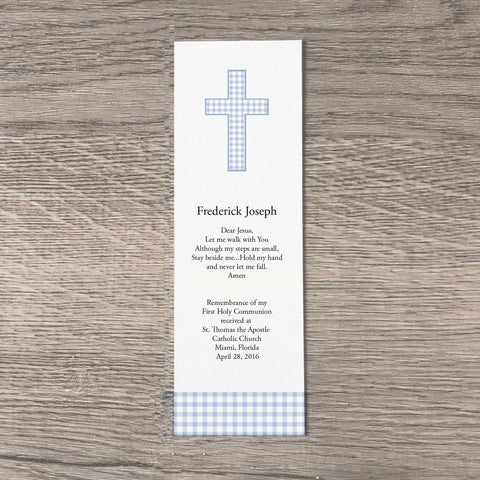 Personalized bookmarks for boys first communion