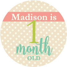 baby girl monthly stickers label circus