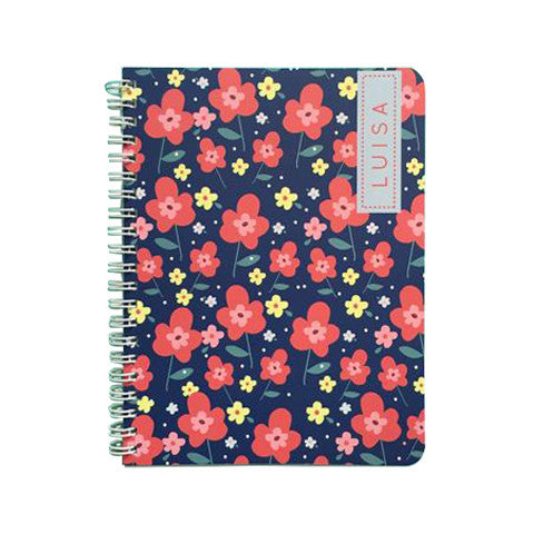 Navy Floral Mini Notebook