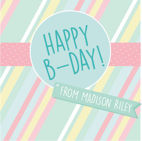 Happy Birthday Banner Gift Label