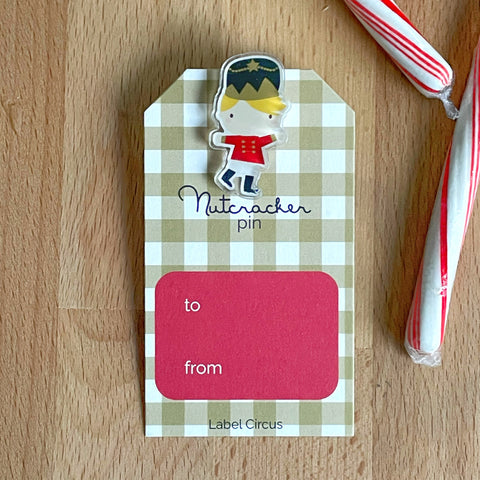 nutcracker pin gift tag