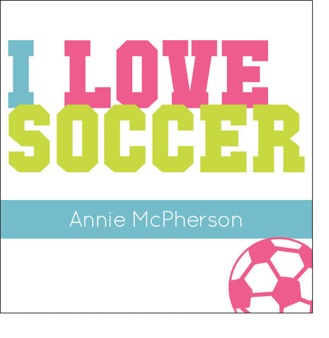 I Love Soccer Label