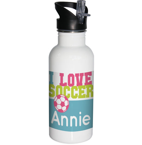 I Love Soccer Water Bottle
