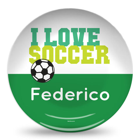 I Love Soccer personalized plate