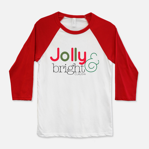 Jolly and Bright Christmas personalized tshirt for woman
