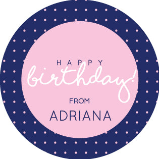 Navy Pink Birthday Label
