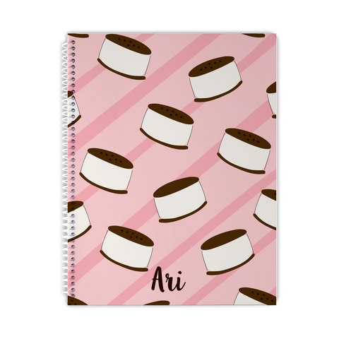 ice cream sandwich personalized notebook