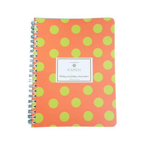 Orange Green Polka Dots Mini Notebook
