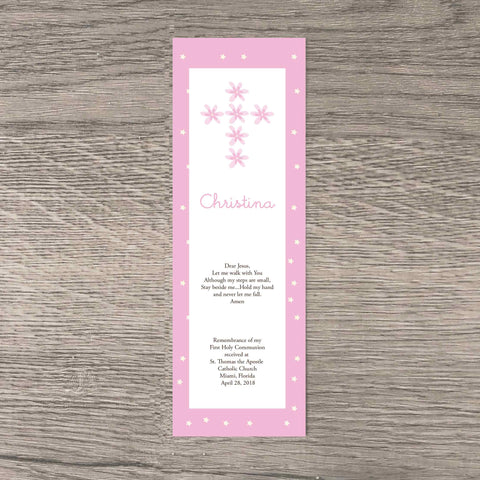 Pretty in pink personalized  first communion bookmark