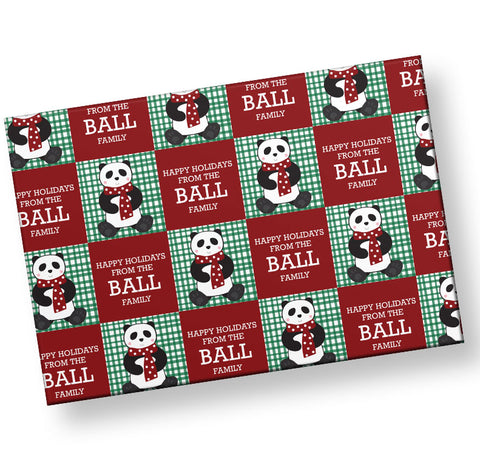 panda checkerboard wrapping paper
