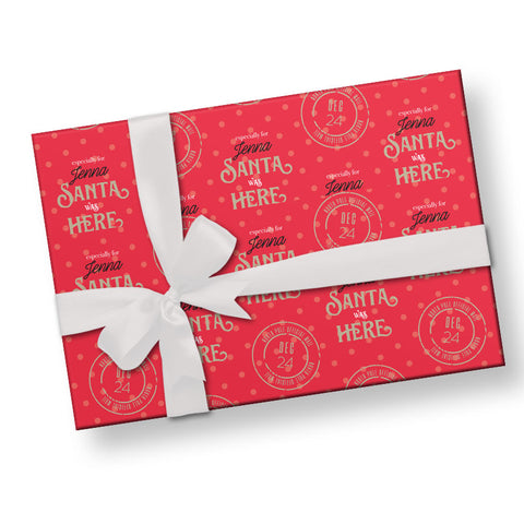 Santa was Here Red Gift Wrap