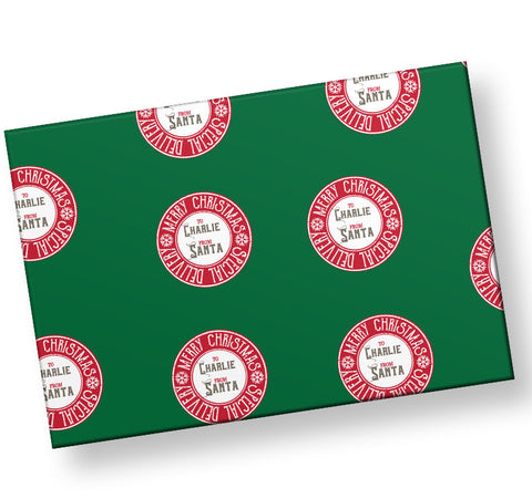 special delivery gift wrap personalized form the north pole