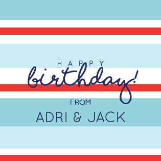 Stripes Birthday Label