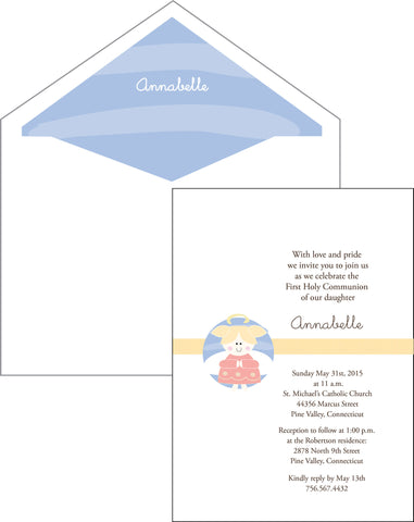 First Communion Girl Angel Card