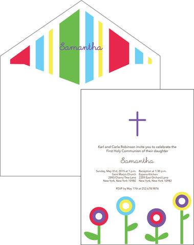 First Communion Modern Flower Card