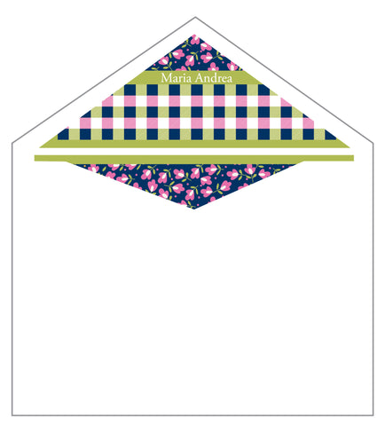 First Communion Flower & Gingham Card