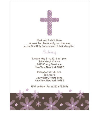 First Communion Flowers and Polka Dots Card