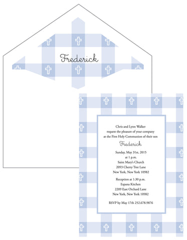 First Communion Gingham Card