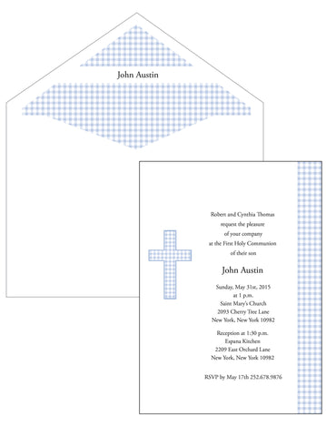 First Communion Boy Gingham Invitation