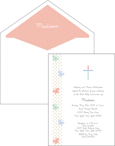 First Communion Butterfly Card