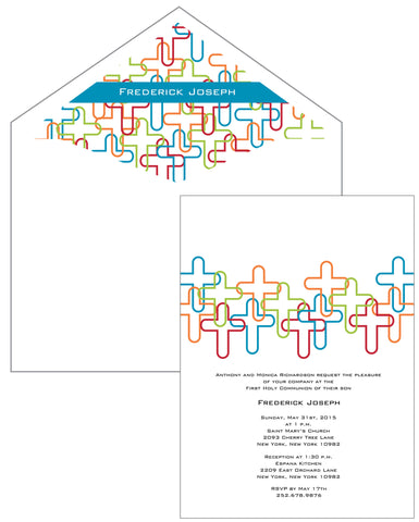 First Communion Overlapped Crosses Card