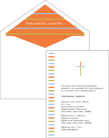 First Communion Stripes Card