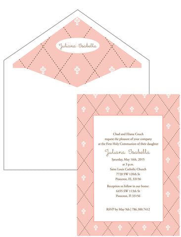 First Communion Quilt Card in Pink