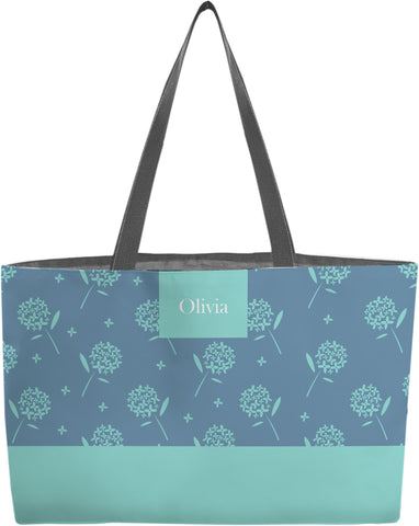 Teal  floral personalized weekender tote bag