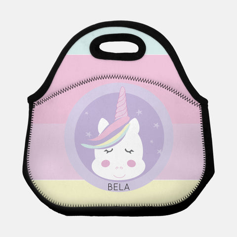 personalized unicorn lunch tote bag