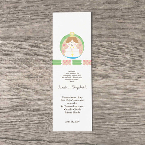 first  holy communion personalized bookmarks for girls