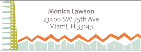 Personalized address label with geometric patterns and zigzags