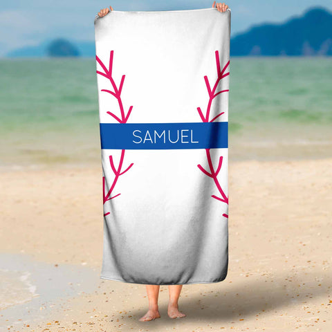 personalized baseball beach towel for boys