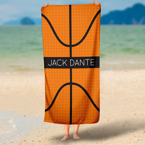 Personalized Basketball Beach Towel for Boys