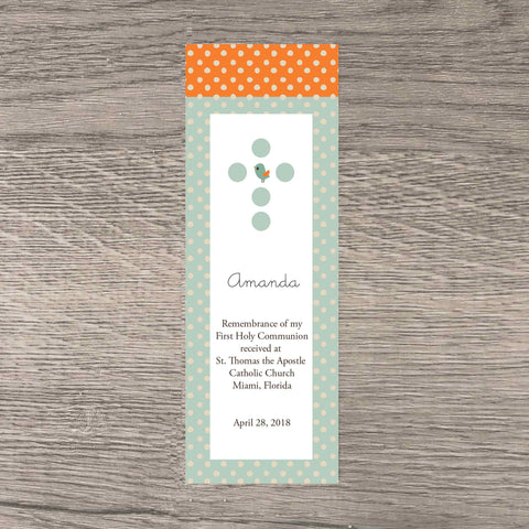 personalized first communion bookmark