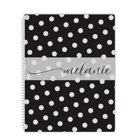 personalized black and white notebook
