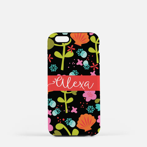 Iphone 7/7 plus Black Floral Case