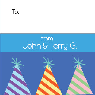 Blue Party Hats Gift Label