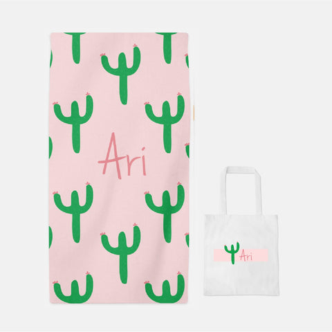 personalized cactus towel and tote set
