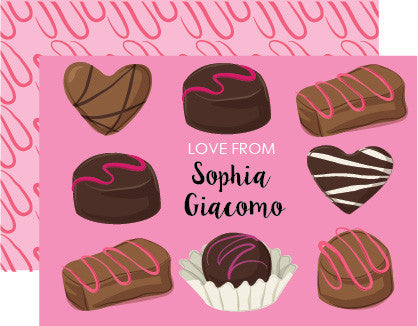 Personalized chocolate bombon valentine day card