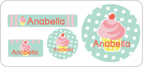 cupcake personalized everyday label for clothing, lunch containers, water bottle label