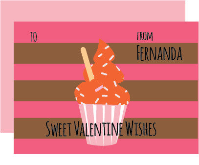 Cupcake and Sprinkles Valentine's Day Card (set of 10)